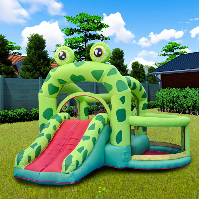 Giant Outdoor Inflatable Toys Kids Bounceland Castle W/pool Slider Inflatable Frog Bounce House Bouncer Moonwalk With Air Blower