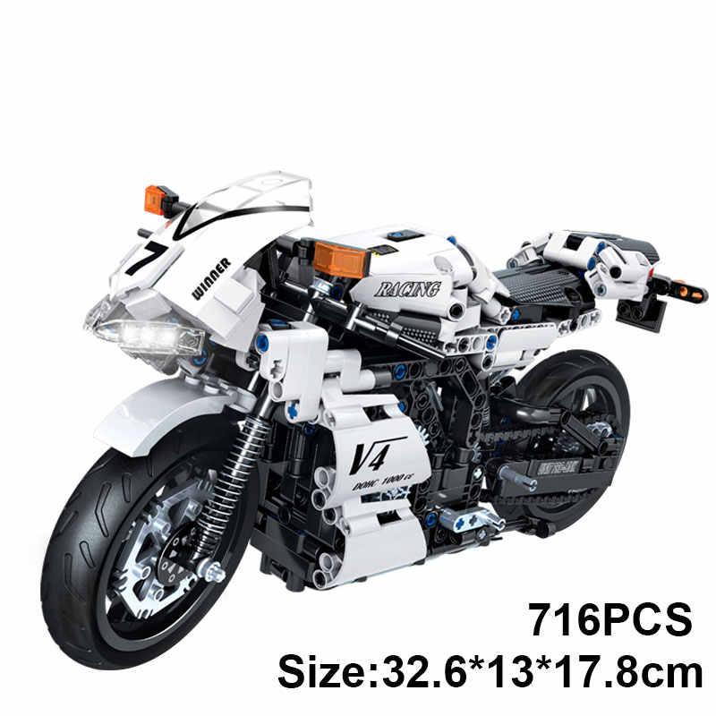 DIY çocuk motosikleti çocuk blok Rc motosiklet oyuncak çocuklar çocuklar için motosiklet modeli araba yarışı motosiklet blokları çocuk için