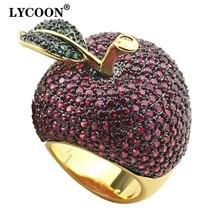 LYCOON คริสตัล Apple แหวนสไตล์อาหารสีเหลืองทอง สีหรูหราการตั้งค่า PRONG Rose สีแดง/สีเขียว Cubic Zirconia สำหรับสตรี