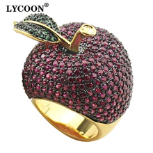 Lycoon elegante cristal anéis de maçã estilo de comida amarelo ouro cor de luxo configuração do dente rosa vermelho/verde zircônia cúbica para mulher