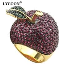 Lycoon 우아한 크리스탈 애플 반지 음식 스타일 옐로우 골드 컬러 럭셔리 프롱 설정 로즈 레드/그린 큐빅 지르코니아 여성을위한