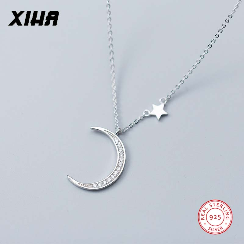 925 Sterling Silver Crescent Moon Star Necklace Choker for Women Crystal Charm Chunky Dainty Necklaces Pendants for Girls Kids