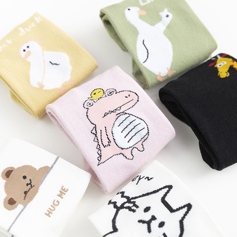 SP&CITY 2020 Summer Cartoon Animal Women Socks Cotton Cute Print Short Socks Student Kawaii Print Funny Art Socks Hipster Trendy
