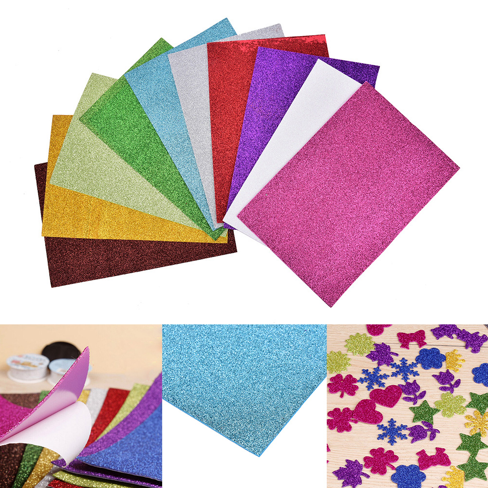 10pcs Flash Thick Sponge Paper With Rubber Powder EVA Foam Paper DIY Paper Craft Scrapbooking Paper Origami Colored Decor 1