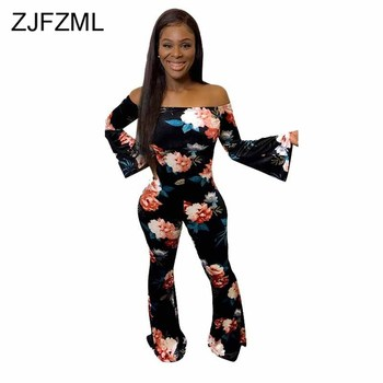 Floral Print Rompers Womens Jumpsuit Slash Neck Long Flare Sleeve Party Overall Autumn Off The Shoulder Backless Skinny Bodysuit animal print off the shoulder sweatshirt