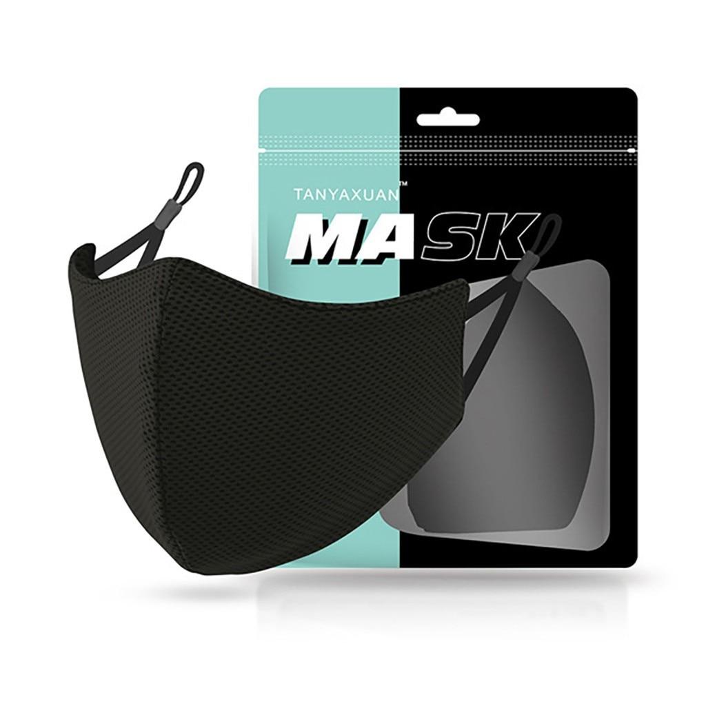 Черная многоразовая хлопковая маска для взрослых чистый цвет защитная многоразовая дышащая и смываемая маска из ледяного шелка для мужчин ...