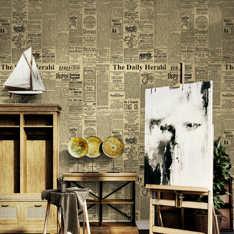 American Retro Old English Alphabet Newspaper Wallpaper Clothing Store Bar Cafe Decor Pvc Wall Paper