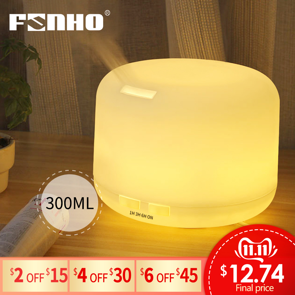 FUNHO Ultrasonic Aromatherapy Humidifier Essential Oil Diffuser Air For Home Mist Maker Aroma Diffuser Fogger LED Light 300ML