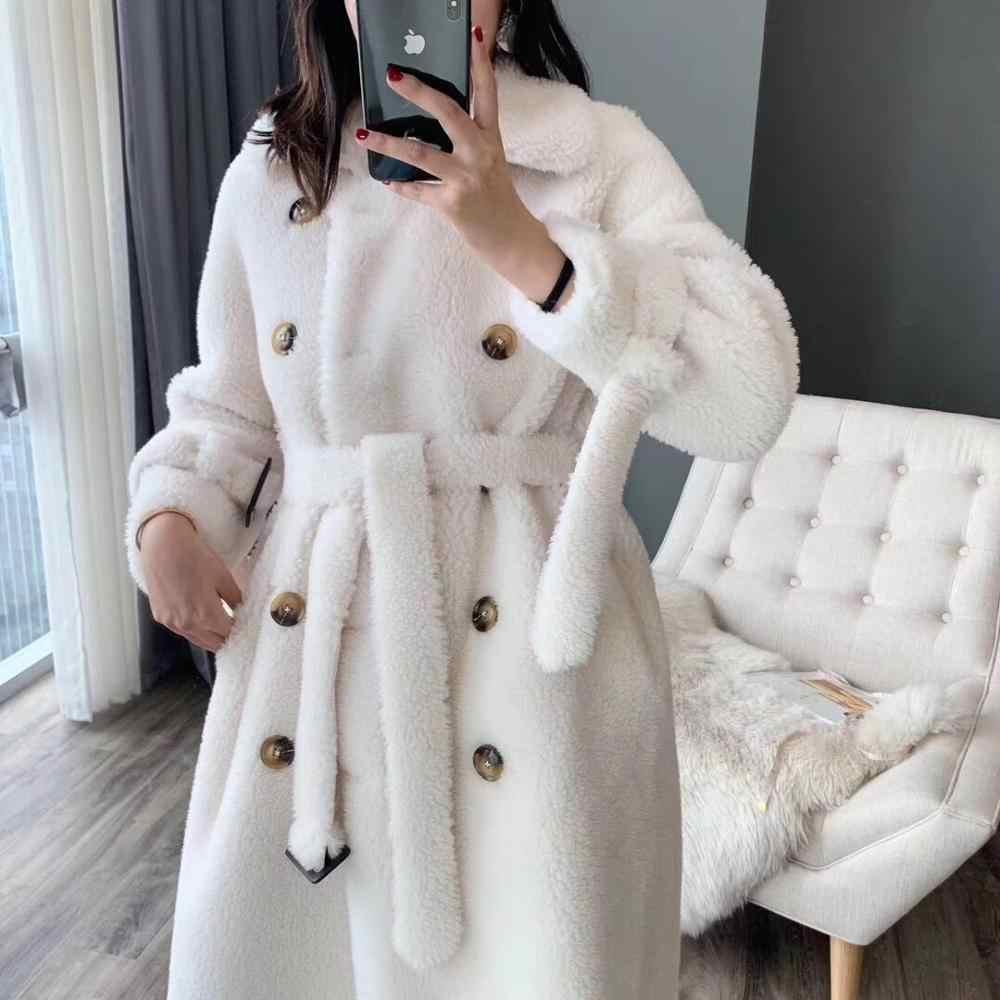 Faux fur coat plus size winter coat women teddy bear coat 2019 thick warm double breasted 30% real sheep fur long woolen jacket
