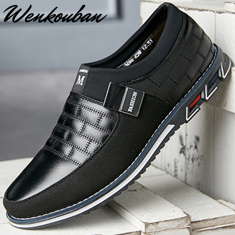 Genuine Leather Men Casual Shoes Brand 2019 Mens Loafers Moccasins Breathable Slip On Black Driving Shoes Plus Size 38-46