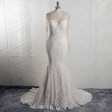 RSW1639 Real Pictures Yiaibridal Elegant Bridal Dress Illusion Back Sirena Manga Larga Vestido De Novia Con Encaje
