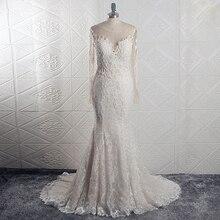 RSW1639 صور حقيقية Yiaibridal فستان زفاف أنيق الوهم الخلفي سيرينا مانغا لارغا فيستدو دي نوفيا مع Encaje