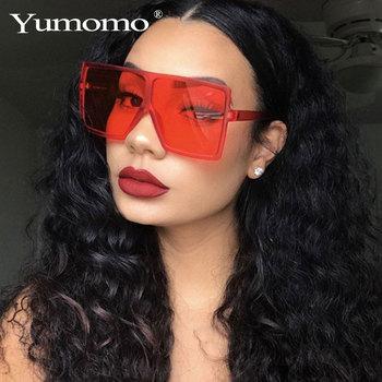 YUMOMO modne okulary przeciwsłoneczne damskie damskie czerwone modne ponadgabarytowe kwadratowe okulary przeciwsłoneczne okulary przeciwsłoneczne do jazdy okulary UV400 gafas de sol tanie i dobre opinie WOMEN SQUARE Dla dorosłych Z tworzywa sztucznego 64mm Poliwęglan GV0297 68mm