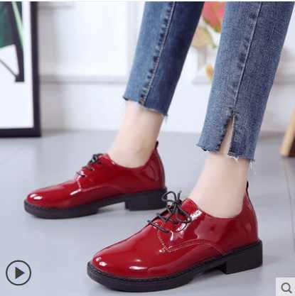 2019High Quality Women Oxfords Flats Platform Shoes Patent Leather Slip-on Pointed Creeper Black Brogue Loafers Brand