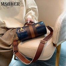 MSGHER Hit Colors Shoulder Bag Vintage Long Round Bags For W