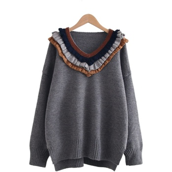 Japan Style Stitching Three-layer V-neck Sweater With Wood Ears Angolan Pullover Womens' Loose Sweaters Winter Warm Pullovers