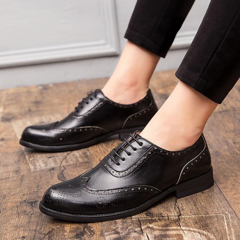 Image 5 - 2020 Men Dress Shoes Gentleman Bullock Paty Leather Wedding Shoes Men Flats Leather Oxfords Formal ShoesFormal Shoes   -
