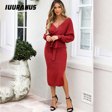 IUURANUS New Sexy Autumn V Neck With Belt Sweater Knitted Women Dress Split Slim 2019 Winter Long Sleeve Solid Elegant Ladies hamaliel high quality autumn and winter sweater long dress 2018 fashion solid long sleeve knitted v neck bodycon dress with belt