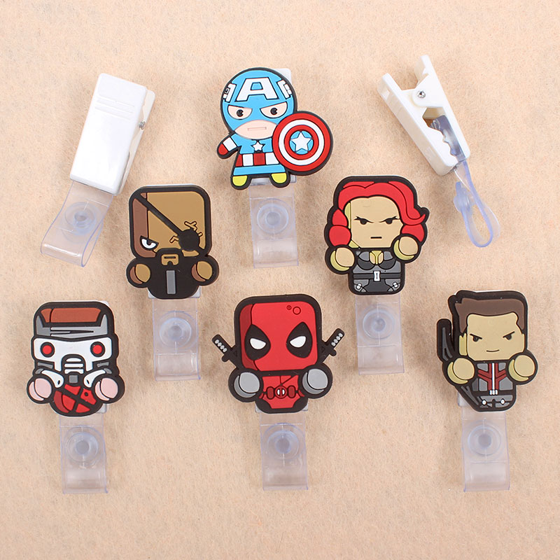 Cartoon America Captain Badge Holder Plastic Clip Of Work Cover Student Badge Reel Nurse Exhibition Enfermera Name Card For Boys