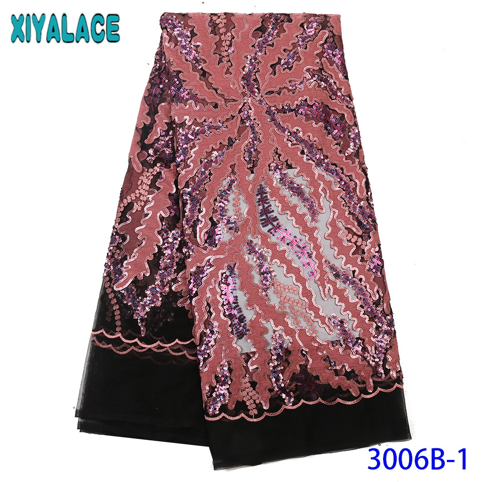 Nigerian Lace Fabric 2019 High Quality Lace French Net Lace With Sequins African Embroidered Laces For Party Dresses KS3006B