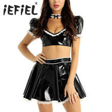 Cosplay Costume Outfit Skirt Short French Maid Women Top with High-Waist And Choker Plunging-Crop-Top