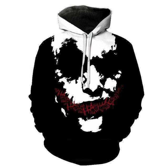 haha joker 3D Print Sweatshirt Hoodies Hip Hop Funny Autumn For Couples Clothes