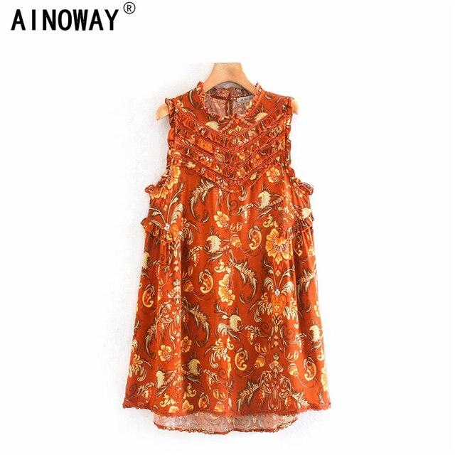 Винтажное шикарное женское пляжное богемное мини платье с цветочным принтом и оборками, женское платье без рукавов из искусственного хлопка в стиле бохо, платья