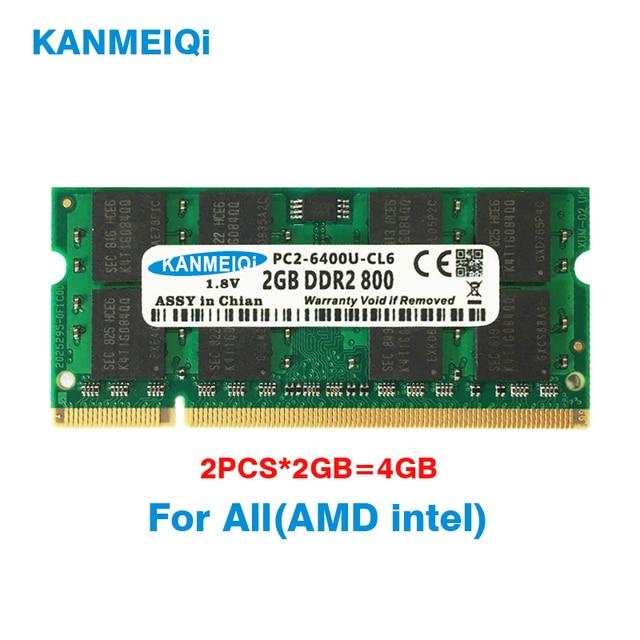 KANMEIQi DDR2 4GB(2pcsX2GB) PC2 6400 800MHZ 533/667MHZ For laptop SO DIMM Memory RAM 200pin 1.8V