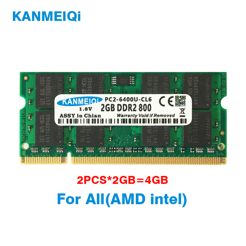 KANMEIQi DDR2 4GB (2pcsX2GB) PC2-6400 800MHZ 533/667MHZ para portátil SO-DIMM memoria RAM 200pin 1,8 V Kembona original chips marca PC de escritorio DDR2 1 GB/2 GB/4 GB 800 MHz/667 MHz/533 MHz DDR 2 DIMM-240-Pins escritorio memoria Ram