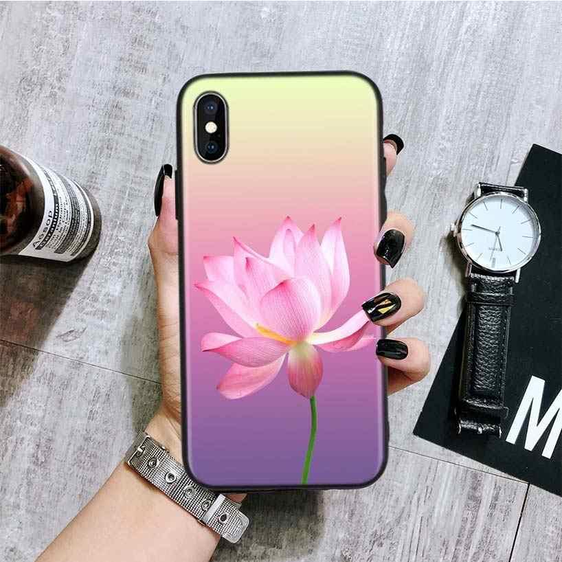 Rose Lotus Blumen Schwarz Zurück Abdeckung Telefon Fall Für Apple IPhone 11 Pro XS MAX XR 7 8 6 6S Plus X 10 Zehn 5 5S SE Coque Shell