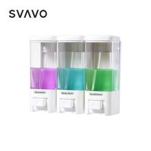 SVAVO 500ml * 3 קיר רכוב מתקן לסבון לשלושה גדול קיבולת נוזל סבון Dispenser יד לחיצה ידני סבון Dispenser