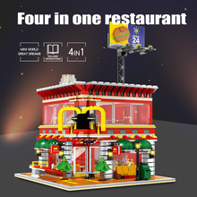 Stadt Street View Mc Donald Restaurant Architektur Modell Mit Led leuchten Bricks Building Block Minifigs Spielzeug Für Kinder Geschenk
