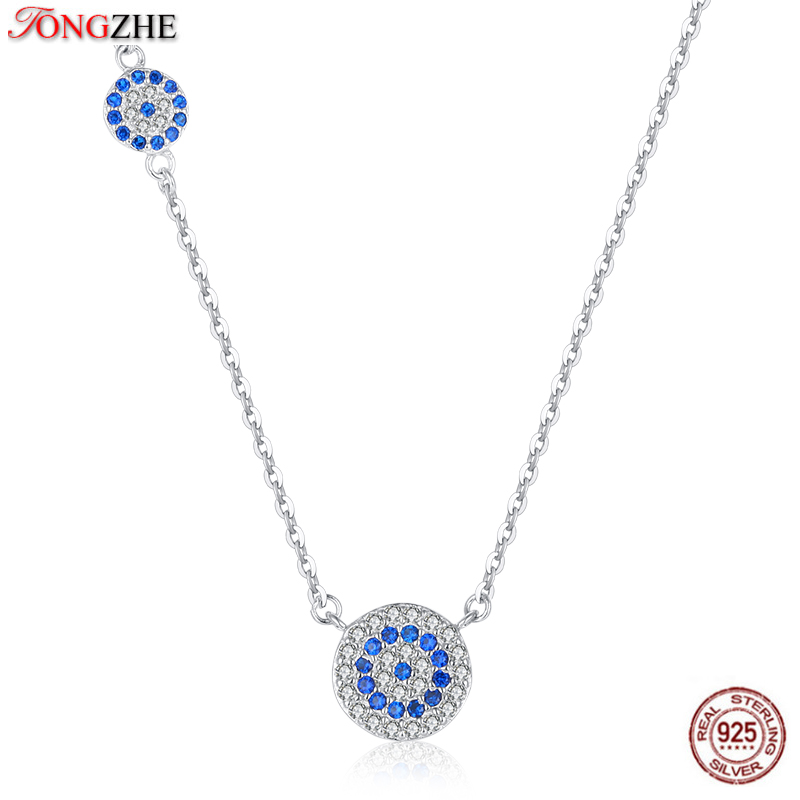 TONGZHE Women Necklace Long Silver 925 Sterling Jewelry Blue Stone CZ Evil Eye Pendant Necklace For Women Link Chain Koyle