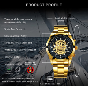 Image 2 - WINNER Official Automatic GOLD Watch Men Steel Strap Skeleton Mechanical Skull Watches Top Brand Luxury Dropshipping Wholesale