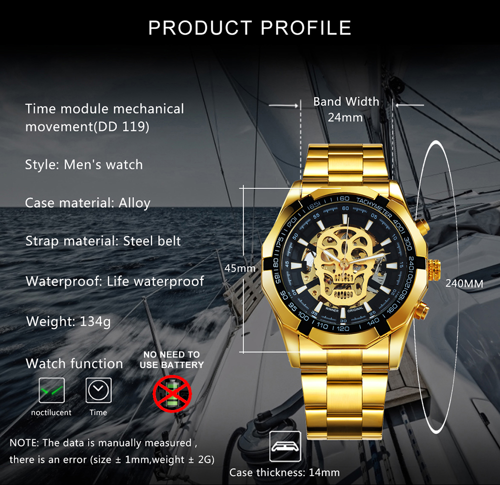 WINNER Official Golden Automatic Watch Men Steel Strap Skeleton Mechanical Skull Watches Top Brand Luxury Dropshipping Wholesale 1
