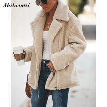Women Fleece Faux Fur Coats 2019 High Street Lapel Winter Coat Zipper Lambswool Jacket Autumn Casual Teddy Outerwear