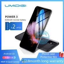 "UMIDIGI Power 3 6150mAh 6.53 ""FHD + 4GB Globale Version Helio P60 64GB ROM Quad Kamera android 10 Gesicht ID Smartphone(China)"