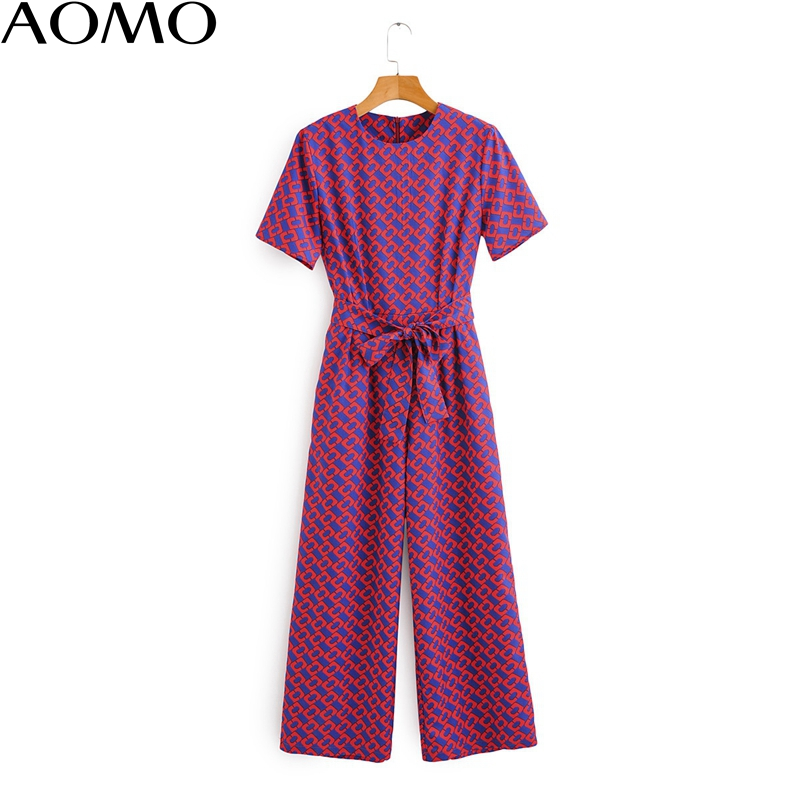 AOMO Casual Women Summer Chain Print Long Jumpsuit Short Sleeve Pocket O Neck Female Casual Jumpsuit 1F71A
