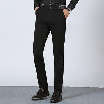 Garnitur spodnie męskie Slim Fit męskie spodnie formalne Stretch męskie spodnie rozmiar biurowy odzież męska nowe ubranie spodnie męskie tanie i dobre opinie ASF51 COTTON Poliester Mieszkanie Smart Casual Zipper fly men trousers office Skinny Suit Pants Men mens pants formal stretch