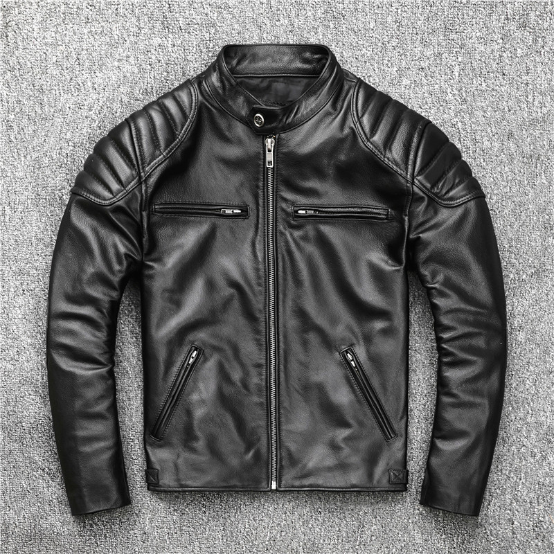 Mens Leather Jacket Real Cowhide Coat Spring Autumn Genuine Leather Jackets For Men 2020 Chaqueta Cuero Hombre KJ2906