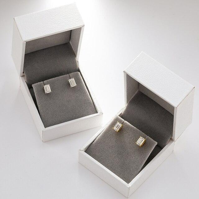 2pcs 0.7ct Baguette Moissanite Diamond Stud Earrings 100% 925 Sterling Silver For Women Girls Men Special Christmas Gift 1.4CTW 5