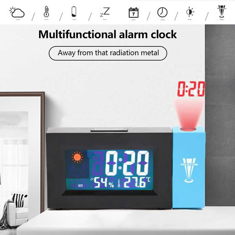 Digital Alarm Clock Weather Station LED Temperature Humidity Weather Forecast Snooze Table Clock With Time Projection