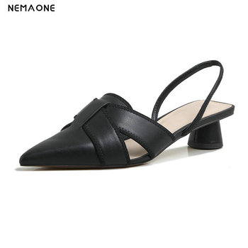 2020 Women Pumps Cow Leather Fashion Slingbacks Pointed Toe Square Low Heel Hollow Slip-on Quality Ladies Shoes Size 34-40