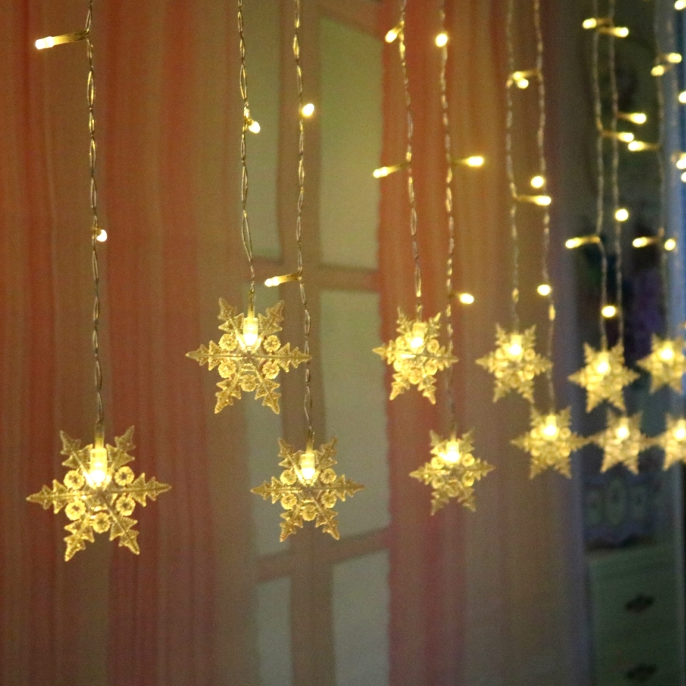 Christmas Lights Indoor Curtain Lights Snowflake LED String Lights LED Curtain Light  For Outdoor Home Christmas Decoration D35