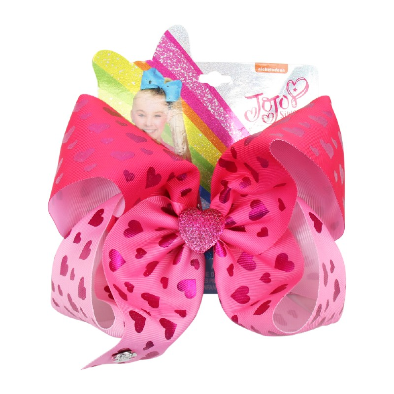 "7/""Jumbo Hair Bows For Girls Heart Printed Rainbow Hair Bow With Alligator Clip"