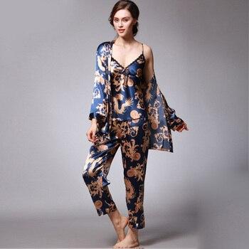 Women Pajamas 3pcs Set Big Size M-XXXL Spring Autumn Satin Print Pijama Sleepwear Spaghetti Vest Strap Pyjamas