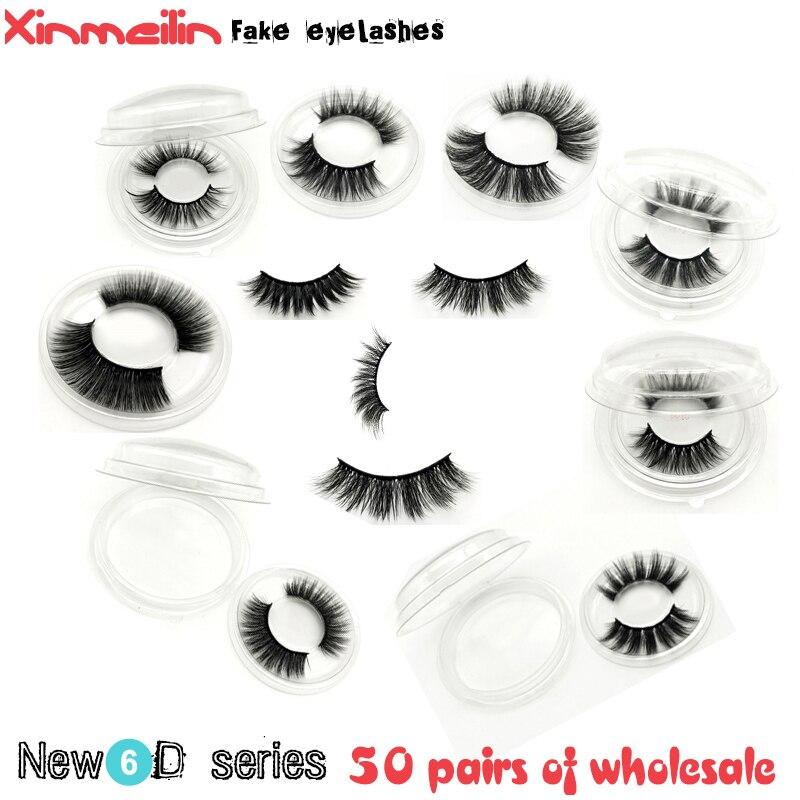 50 pairs 6D faux mink lashes wholesale natural long individual thick fluffy dramatic makeup volume false eyelashes with lash box