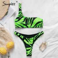 Simplee One shoulder neon green bikini 2019 micro Bandeau swimwear women bathing suit biquini Summer beachwear Push up swimsuit