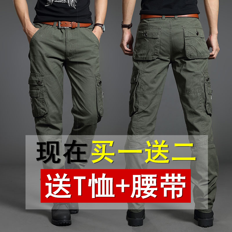 Autumn New Style Men Multi-pockets Bib Overall Loose Casual Pants Men's Straight-Cut Outdoor Sports Work Pants Army Pants