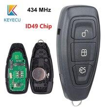 KEYECU 스마트 원격 키 3 버튼 434MHz ID49 PCF7953 칩 포드 포커스 C Max 포커스 그랜드 C Max Mondeo 2014 2018 FCC: KR5876268